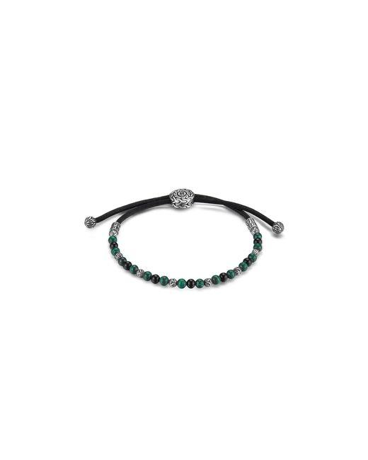 John Hardy | Batu Classic Chain Sterling Silver Round Beaded Bracelet On Black Cord With Black Onyx And Malachite | Lyst