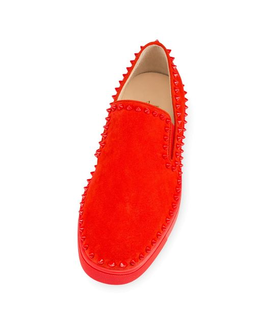 Christian louboutin Pik Boat Suede Slip-On Sneakers in Red for Men ...