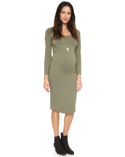 Monrow | Green Maternity Long Sleeve Dress | Lyst