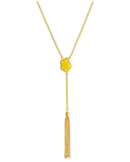 Vince Camuto | Yellow Gold-tone Red Stone Tassel Y-necklace | Lyst