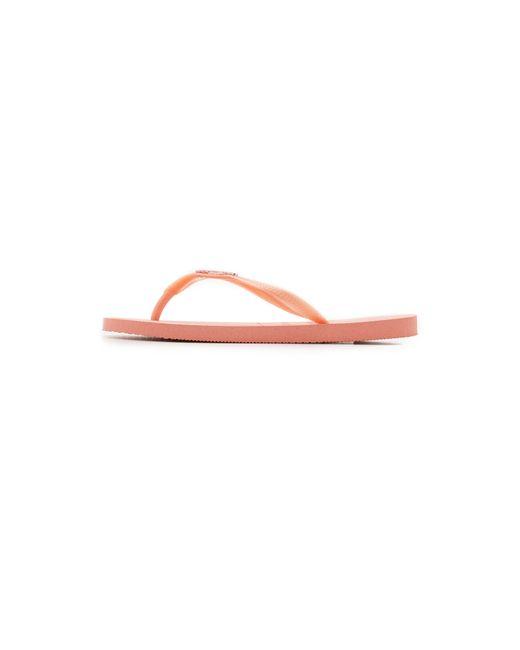 Havaianas Slim Logo Metallic Flip Flops In Pink Light -4753