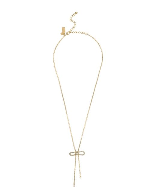 Kate Spade Pearl Bow Necklace: Kate Spade Dainty Sparklers Bow Y Necklace In Gold (clear