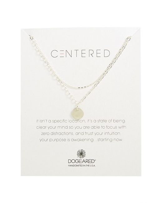 Dogeared | Metallic Two Chain Circle Pendant Necklace | Lyst