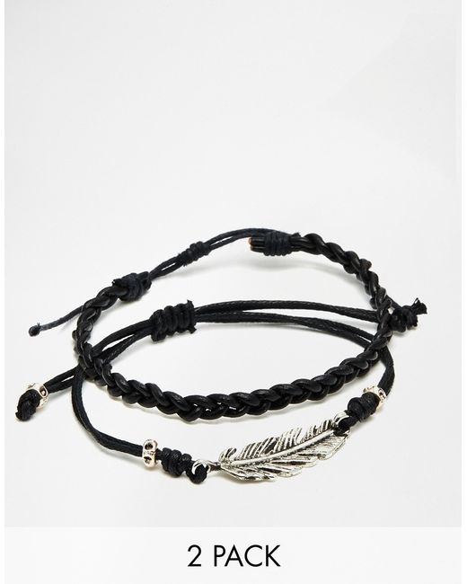 ASOS   Leather Bracelet Pack With Feather - Black for Men   Lyst