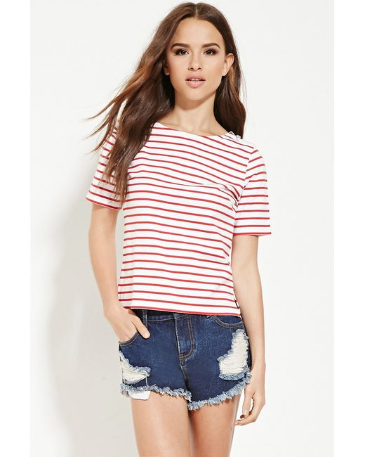 Forever 21 | Red Plus Size Boxy Distressed Tee | Lyst