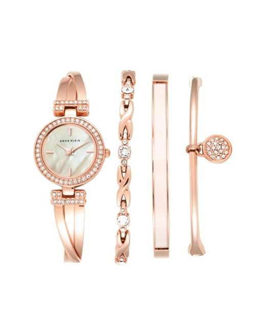 Anne Klein Rose Gold Watch Set Of Anne Klein Boxed Bracelet Bangle Watch Set In Pink Rose Gold Lyst