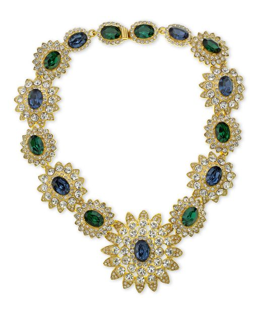 Kenneth Jay Lane | Blue Sapphire & Emerald Stones Centers Necklace | Lyst