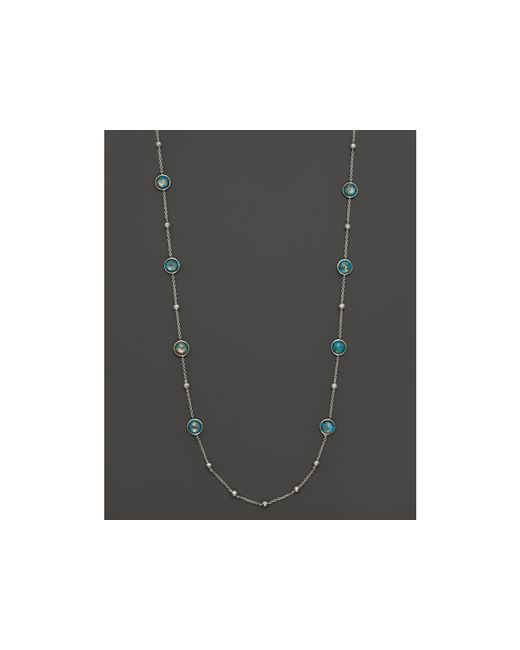 Ippolita | Metallic Sterling Silver Rock Candy Mini Lollipop And Ball Necklace In Bronze Turquoise, 38"