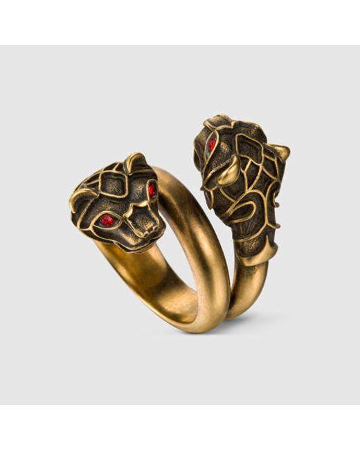 Gucci   Metallic Tiger Head Ring for Men   Lyst