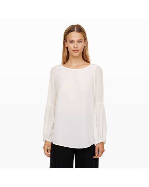 Club Monaco   White Masserole Flounce Sleeve Shirt   Lyst