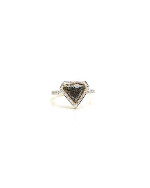 Trésor   Metallic Organic Diamond Slice With Rd Brilliant Diamond Ring In K Yg   Lyst