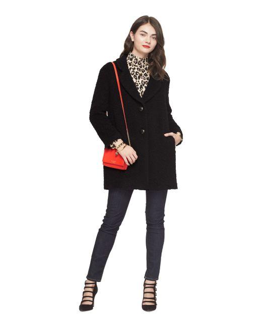 Kate Spade | Black Fluffy Wool Bow Coat | Lyst