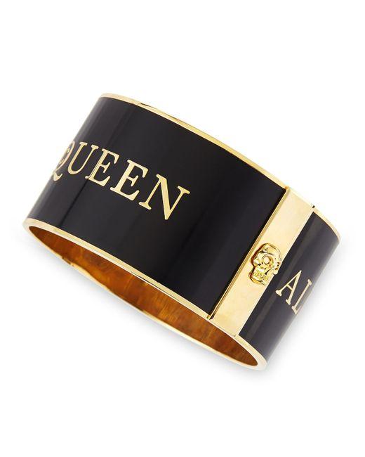 Alexander McQueen   Black Large Logo Enamel Cuff   Lyst