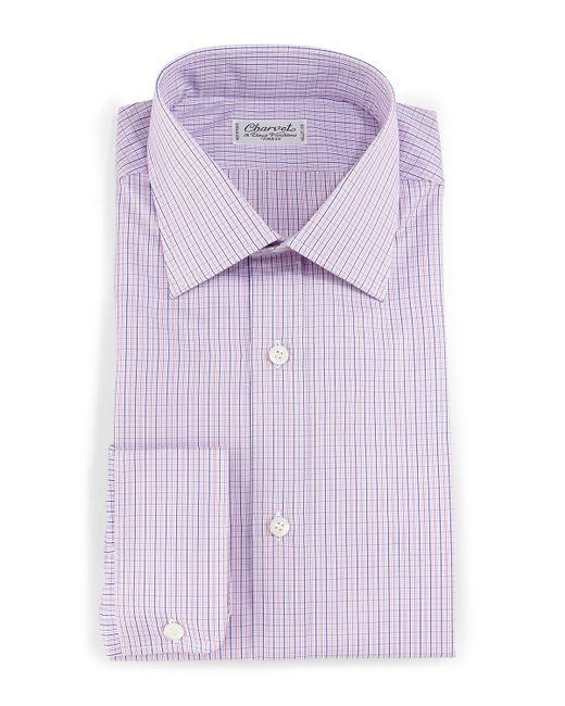 Charvet Plaid Check Dress Shirt In Purple For Men Lyst