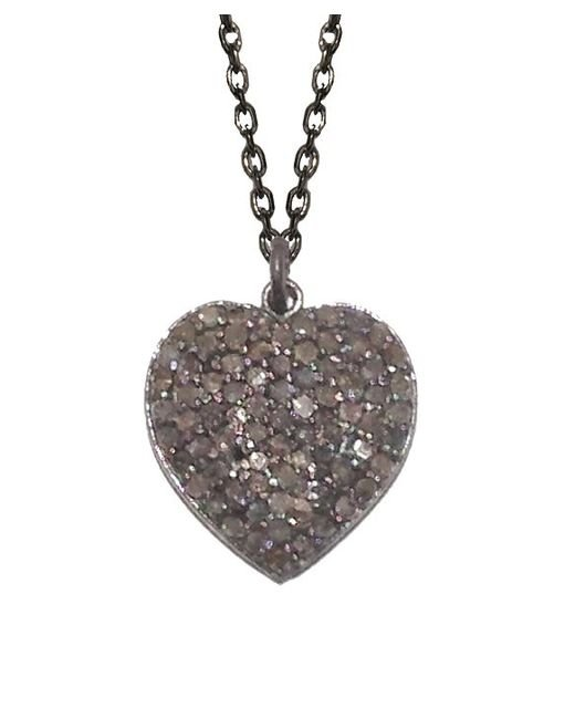 Adornia | Metallic Champagne Diamond And Sterling Silver Carrie Heart Necklace | Lyst