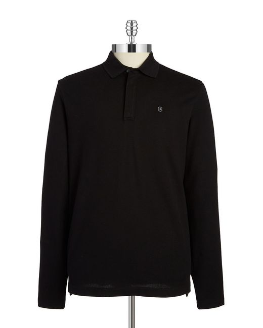 Victorinox | Black Zip Placket Polo for Men | Lyst