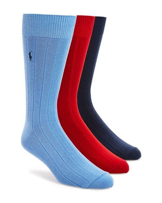 Polo Ralph Lauren | Blue 3-pack Crew Socks, Grey for Men | Lyst