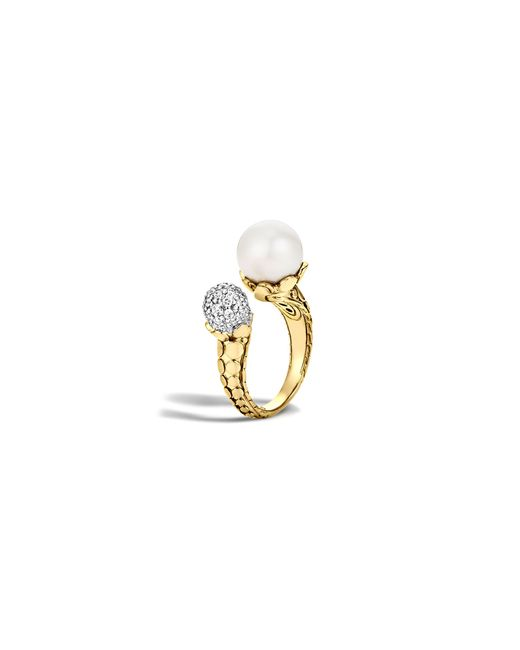 John Hardy | Metallic Dot 18k Yellow Gold Diamond Pave Ring With Cultured Freshwater Pearl | Lyst