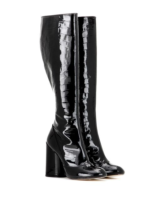 marc patent leather knee high boots in black lyst