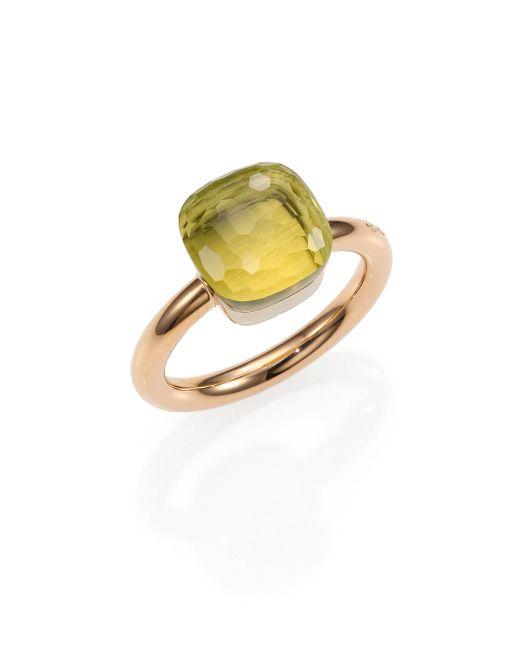 Pomellato | Pink Nudo Lemon Quartz & 18k Rose Gold Ring | Lyst