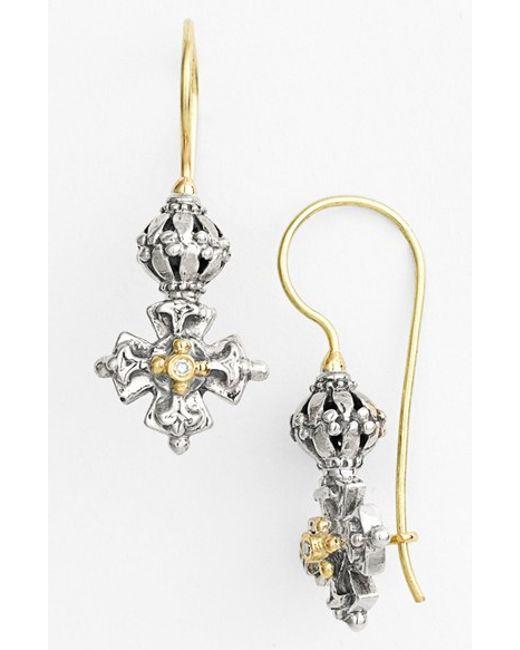 Konstantino | Metallic 'classics' Diamond Maltese Cross Drop Earrings | Lyst