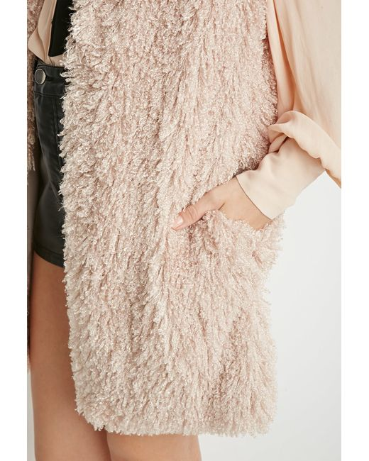 Forever 21 | Brown Contemporary Shaggy Knit Longline Vest | Lyst