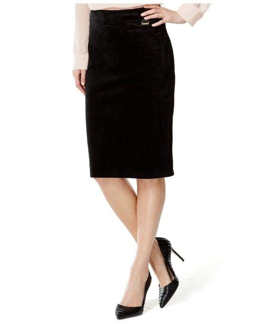 Calvin Klein | Black Faux-suede Pencil Skirt | Lyst