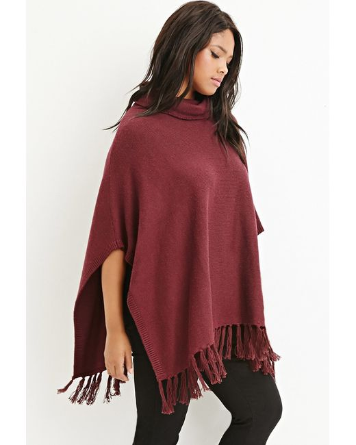Forever 21 | Purple Tasseled Funnel Neck Poncho | Lyst