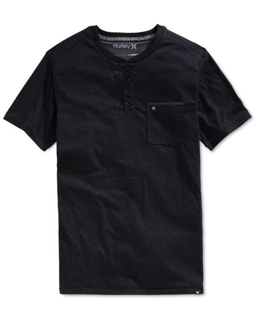 Hurley | Black Men's Dri-fit Short-sleeve Henley for Men | Lyst