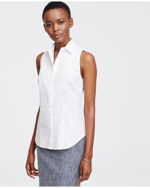 Ann taylor tall sleeveless perfect shirt in white lyst for Tall sleeveless t shirts
