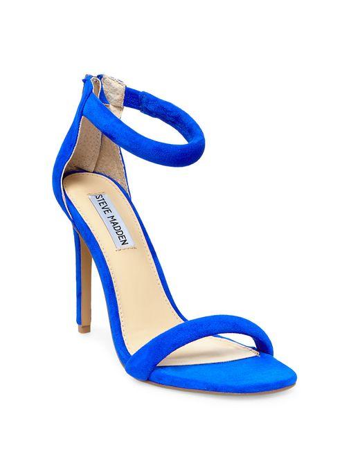 Steve Madden | Blue Fancci Suede T-back Sandal Heels | Lyst