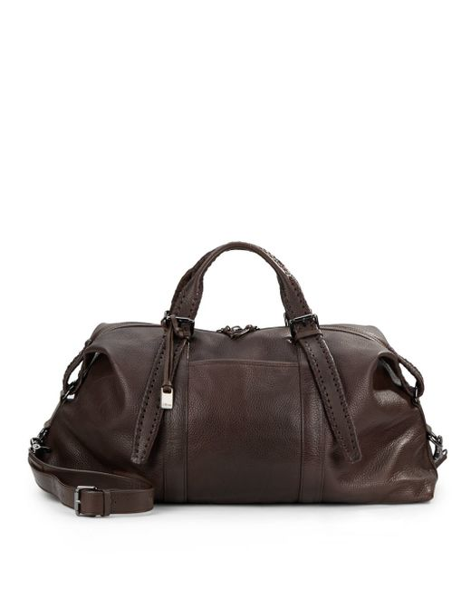 John Varvatos | Brown Braided Handle Leather Duffel for Men | Lyst
