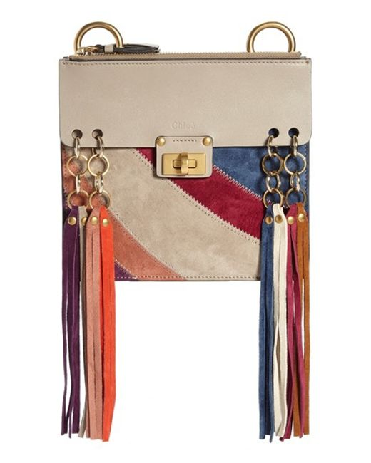 chloe jane suede and leather cross-body bag