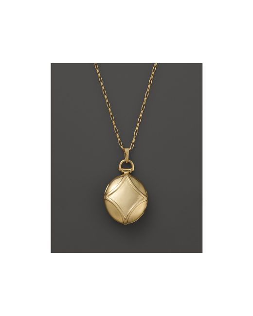 "Monica Rich Kosann   Metallic 18k Yellow Gold Petite Geometric Locket Necklace With Diamond Accents, 30""   Lyst"