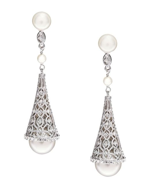 Nadri | White Sparkling Faux Pearl Drop Earrings | Lyst
