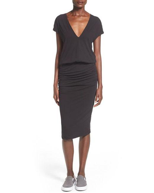James Perse   Gray V-neck Midi Dress   Lyst