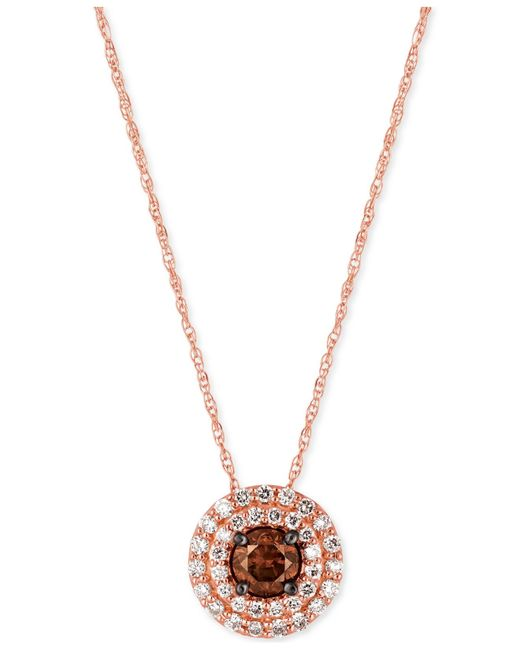 Le Vian | Pink Chocolatier Chocolate And White Diamond Circular Pendant Necklace (1/2 Ct. T.w.) In 14k Rose Gold | Lyst