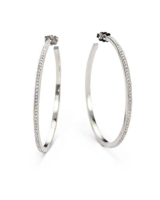 "Adriana Orsini | Metallic Pavà Hoop Earrings/2"" | Lyst"