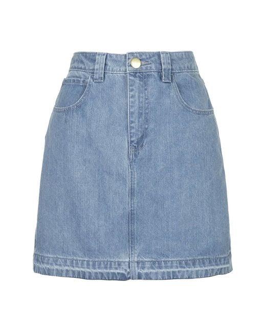 topshop draycott denim skirt by unique in blue
