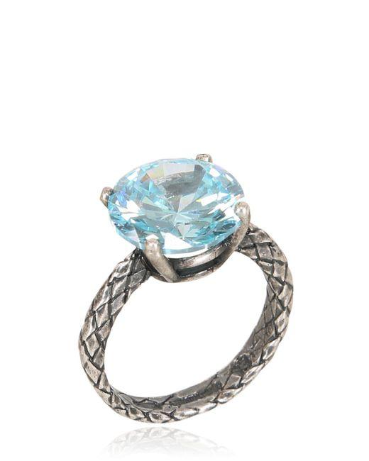 Bottega Veneta Oxidized Silver Ring With Cubic Zirconia In