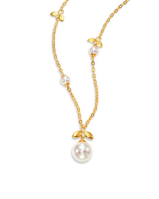 Majorica | Metallic 6mm-12mm White Pearl & Sterling Silver Leaf Pendant Necklace | Lyst