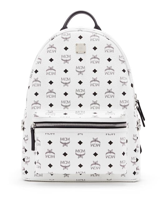 mcm stark side stud medium backpack in white