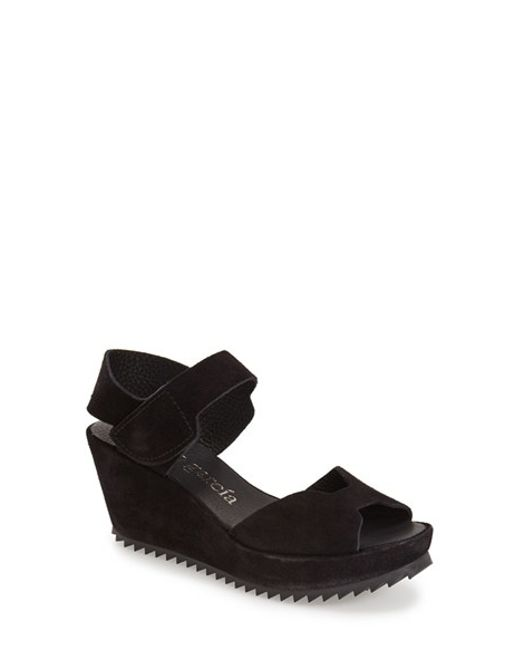 Pedro Garcia | Black Fama Wedge Sandals | Lyst