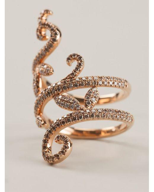 Elise Dray | Metallic Diamond Pavé Demi Flower Ring | Lyst