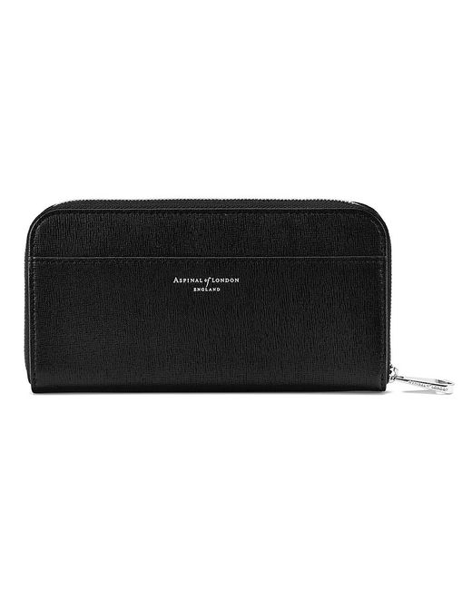 Aspinal | Black Continental Zip Around Purse | Lyst
