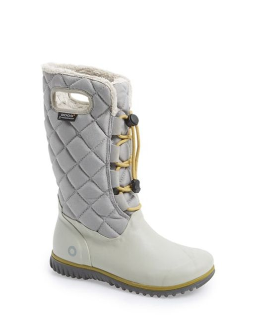Bogs | Gray 'june' Lace High Waterproof Quilted Boot | Lyst