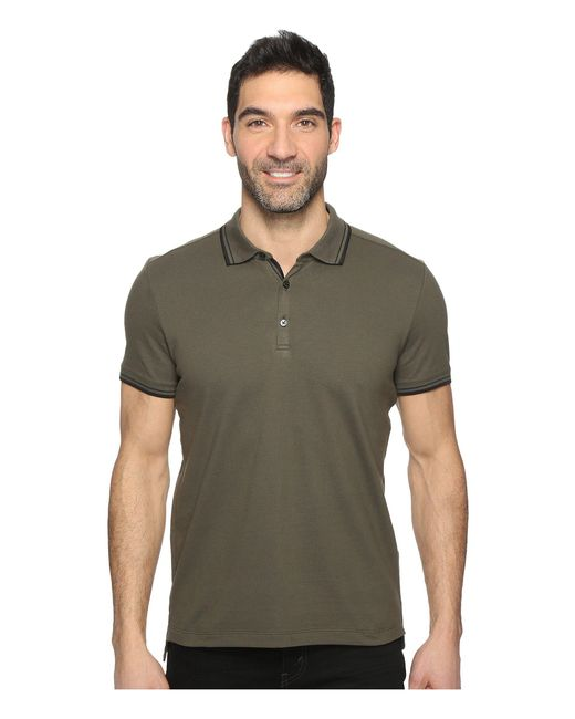 Kenneth Cole - Green Polo With Tipping for Men - Lyst