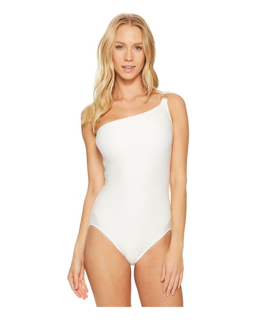 MICHAEL Michael Kors - White Sea Side Texture One Shoulder One-piece Swimsuit W/ Ring Chain Trim & Removable Soft Cups - Lyst