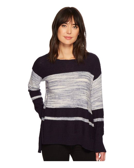 Two By Vince Camuto - Blue Long Sleeve Blocked Space Dye Stripe Sweater - Lyst