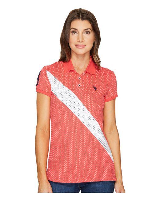 U.S. POLO ASSN. - Red Printed Stretch Pique Polo Shirt - Lyst